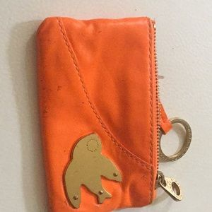 Marc by Marc Jacobs orange leather key small pouch